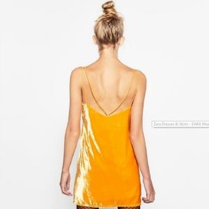 NWT! ZARA Short Velvet Grapefruit Yellow Dress L